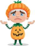 Kid with Halloween Costume Cartoon Vector Character AKA Keat Trick-or-treat - Feeling Sorry