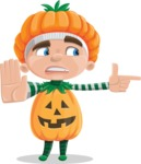 Kid with Halloween Costume Cartoon Vector Character AKA Keat Trick-or-treat - Finger Pointing with Angry Face