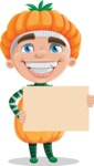 Kid with Halloween Costume Cartoon Vector Character AKA Keat Trick-or-treat - Holding a Blank Sign