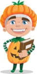 Kid with Halloween Costume Cartoon Vector Character AKA Keat Trick-or-treat - Holding a Book