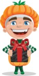 Kid with Halloween Costume Cartoon Vector Character AKA Keat Trick-or-treat - Holding a Gift