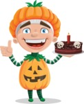 Kid with Halloween Costume Cartoon Vector Character AKA Keat Trick-or-treat - Holding a Halloween Cake