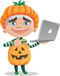 Kid with Halloween Costume Cartoon Vector Character AKA Keat Trick-or-treat - Holding a Laptop