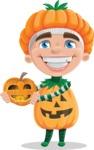 Kid with Halloween Costume Cartoon Vector Character AKA Keat Trick-or-treat - Holding a Pumpkin Lantern