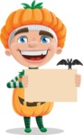 Kid with Halloween Costume Cartoon Vector Character AKA Keat Trick-or-treat - Holding Blank Presentation Sign for Halloween