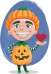 Kid with Halloween Costume Cartoon Vector Character AKA Keat Trick-or-treat - Holding Heard Illustration