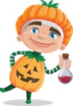 Kid with Halloween Costume Cartoon Vector Character AKA Keat Trick-or-treat - Holding Potion