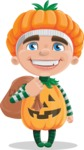 Kid with Halloween Costume Cartoon Vector Character AKA Keat Trick-or-treat - Holding Sack with Candies