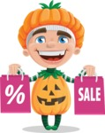 Kid with Halloween Costume Cartoon Vector Character AKA Keat Trick-or-treat - Holding Shopping Bags