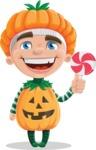 Kid with Halloween Costume Cartoon Vector Character AKA Keat Trick-or-treat - Hugging Treat