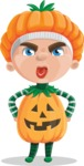 Kid with Halloween Costume Cartoon Vector Character AKA Keat Trick-or-treat - Making a Funny Face