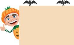 Kid with Halloween Costume Cartoon Vector Character AKA Keat Trick-or-treat - Making a Presentation on a Whiteboard