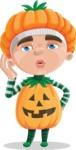 Kid with Halloween Costume Cartoon Vector Character AKA Keat Trick-or-treat - Making a Selfie