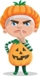 Kid with Halloween Costume Cartoon Vector Character AKA Keat Trick-or-treat - Making Quiet Sign with Hand