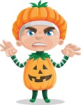 Kid with Halloween Costume Cartoon Vector Character AKA Keat Trick-or-treat - Making Scary Face