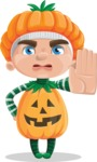 Kid with Halloween Costume Cartoon Vector Character AKA Keat Trick-or-treat - Making Stop Sign