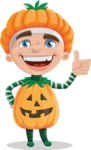 Kid with Halloween Costume Cartoon Vector Character AKA Keat Trick-or-treat - Making Thumbs Up