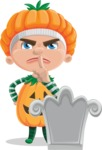 Kid with Halloween Costume Cartoon Vector Character AKA Keat Trick-or-treat - On a Grave