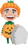 Kid with Halloween Costume Cartoon Vector Character AKA Keat Trick-or-treat - On a Graveyard