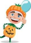 Kid with Halloween Costume Cartoon Vector Character AKA Keat Trick-or-treat - On a Party with a Balloon