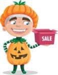 Kid with Halloween Costume Cartoon Vector Character AKA Keat Trick-or-treat - On a Sale
