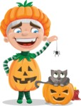 Kid with Halloween Costume Cartoon Vector Character AKA Keat Trick-or-treat - Playing With Cat on Halloween