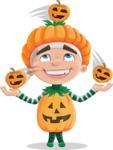 Kid with Halloween Costume Cartoon Vector Character AKA Keat Trick-or-treat - Playing