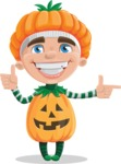 Kid with Halloween Costume Cartoon Vector Character AKA Keat Trick-or-treat - Pointing and Making Thumbs Up