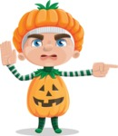 Kid with Halloween Costume Cartoon Vector Character AKA Keat Trick-or-treat - Pointing with a Finger