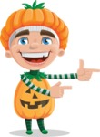 Kid with Halloween Costume Cartoon Vector Character AKA Keat Trick-or-treat - Pointing with Hands