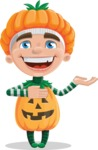 Kid with Halloween Costume Cartoon Vector Character AKA Keat Trick-or-treat - Presenting with Both Hands