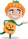 Kid with Halloween Costume Cartoon Vector Character AKA Keat Trick-or-treat - Presenting
