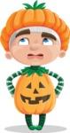 Kid with Halloween Costume Cartoon Vector Character AKA Keat Trick-or-treat - Rolling Eyes