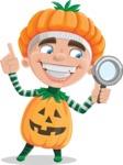 Kid with Halloween Costume Cartoon Vector Character AKA Keat Trick-or-treat - Searching