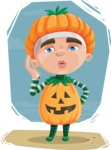 Kid with Halloween Costume Cartoon Vector Character AKA Keat Trick-or-treat - Giving a Kiss Illustration Concept