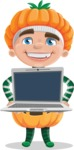 Kid with Halloween Costume Cartoon Vector Character AKA Keat Trick-or-treat - Showing a Laptop