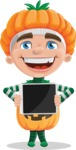 Kid with Halloween Costume Cartoon Vector Character AKA Keat Trick-or-treat - Showing on a Blank Tablet