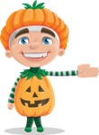 Kid with Halloween Costume Cartoon Vector Character AKA Keat Trick-or-treat - Showing witha Smile