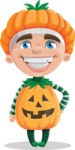 Kid with Halloween Costume Cartoon Vector Character AKA Keat Trick-or-treat - Smiling
