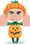 Kid with Halloween Costume Cartoon Vector Character AKA Keat Trick-or-treat - Stopping with Hands