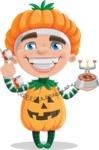 Kid with Halloween Costume Cartoon Vector Character AKA Keat Trick-or-treat - Talking on Phone