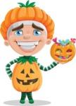 Kid with Halloween Costume Cartoon Vector Character AKA Keat Trick-or-treat - Trick Or Treating