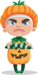 Kid with Halloween Costume Cartoon Vector Character AKA Keat Trick-or-treat - Waiting with Crossed Hands