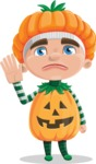 Kid with Halloween Costume Cartoon Vector Character AKA Keat Trick-or-treat - Waving for Goodbye with a Hand