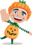 Kid with Halloween Costume Cartoon Vector Character AKA Keat Trick-or-treat - Waving for Welcome with a Hand
