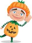 Kid with Halloween Costume Cartoon Vector Character AKA Keat Trick-or-treat - Waving