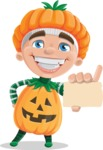 Kid with Halloween Costume Cartoon Vector Character AKA Keat Trick-or-treat - With a Blank Business Card