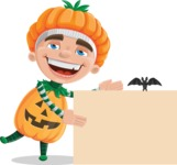 Kid with Halloween Costume Cartoon Vector Character AKA Keat Trick-or-treat - With a Blank Halloween Sign with a Bat