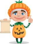 Kid with Halloween Costume Cartoon Vector Character AKA Keat Trick-or-treat - With a Blank Scroll