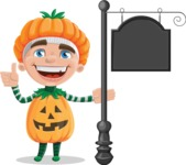 Kid with Halloween Costume Cartoon Vector Character AKA Keat Trick-or-treat - With a Blank Vintage Street Sign